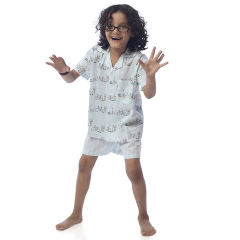 Kid's Pyjama Shirt & Shorts Set - Cycle