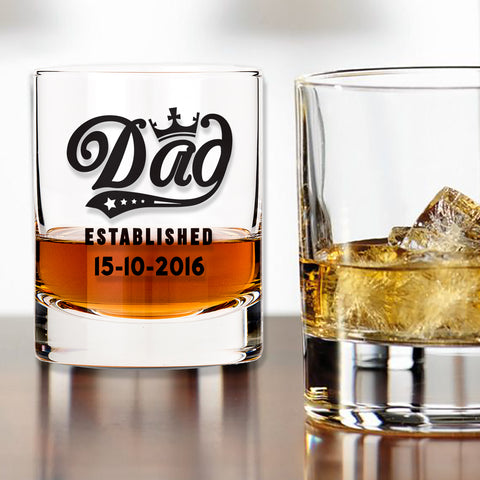 Personalised Whiskey Glass - Dad Established