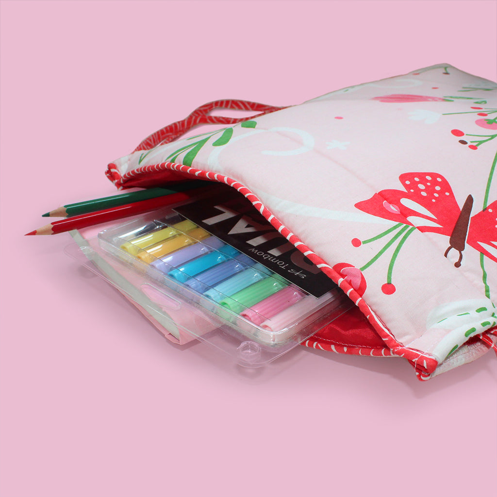 Quilted Cotton Drawstring Bag - Snooze & Roar Dinosaur