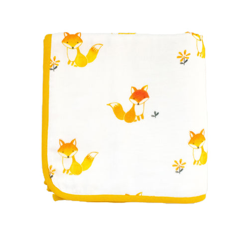 Fox in the Garden Muslin Blanket