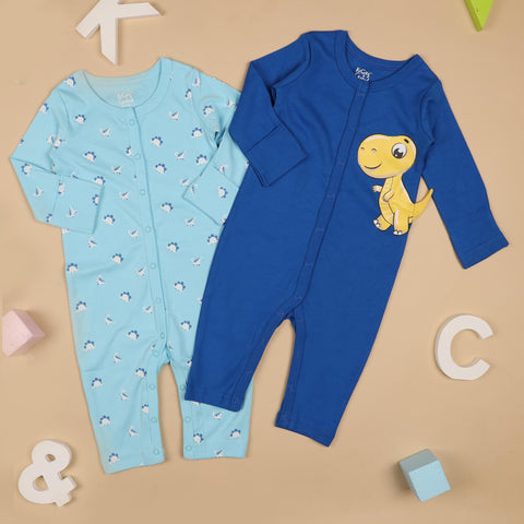 Kicks & Crawl- Dino Dude's Rompers - Pack of 2 (NB, 0-24)