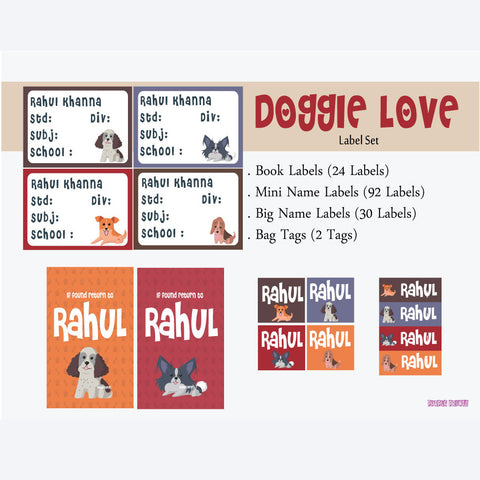 "Label Set <br/>Doggie Love Theme<br><span style=""font-size: 11px; font-family:Helvetica,Arial,sans-serif;"">Assorted pack containing 146 labels and 2 bag tags </span>"