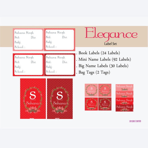 "Label Set<br/>Elegance Theme<br><span style=""font-size: 11px; font-family:Helvetica,Arial,sans-serif;"">Assorted pack containing 146 labels and 2 bag tags </span>"