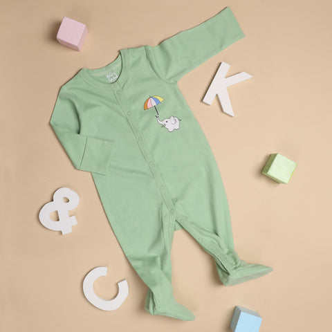 Kicks & Crawl- Elephants in the Sky Sleepsuit (NB, 0-24)