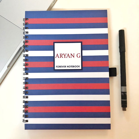 "Personalised ""Forever"" Reusable Notebook - Primary Stripes"