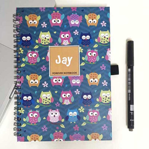"Personalised ""Forever"" Reusable Notebook - Owls"