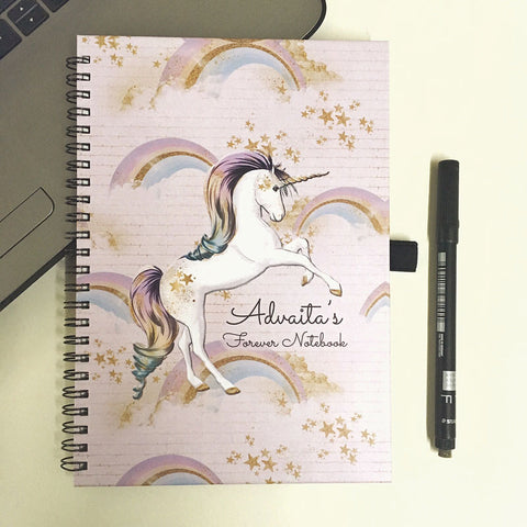 "Personalised ""Forever"" Reusable Notebook - Unicorn"
