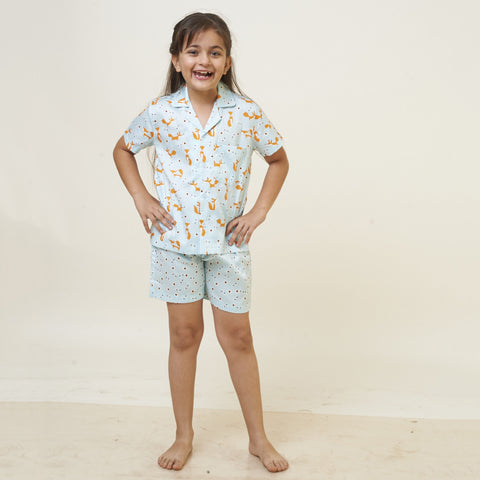 Kid's Pyjama Shirt & Shorts Set - Fox