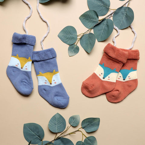 Foxy Baby Hi Fold Socks - Orange & Blue (0-2Y)