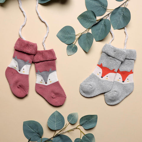 Foxy Baby Hi Fold Socks - Red & Grey (0-2Y)