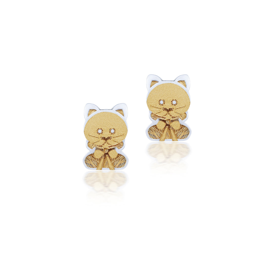 18K Gold Little Kitty Earrings, Pugs & Paws Collection