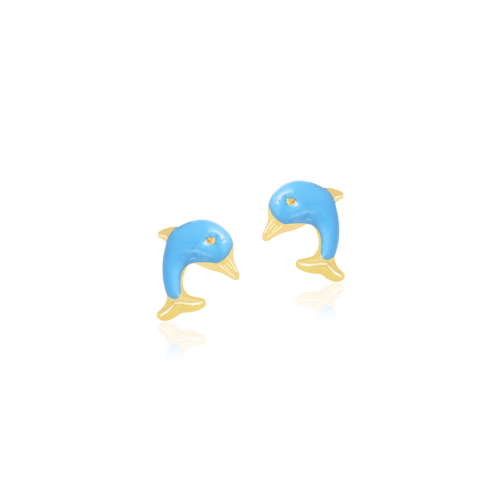 18K Gold Blue Dolphin Earrings, Pugs & Paws Collection