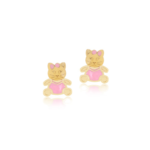 18K Gold Kitty Kat Earrings, Pugs & Paws Collection