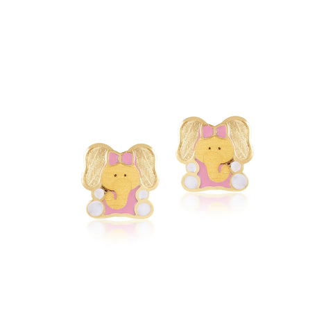 18K Gold Little Ellie Earrings, Pugs & Paws Collection