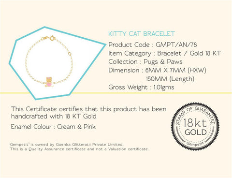 18K Gold Kitty Kat Bracelet, Pugs & Paws Collection