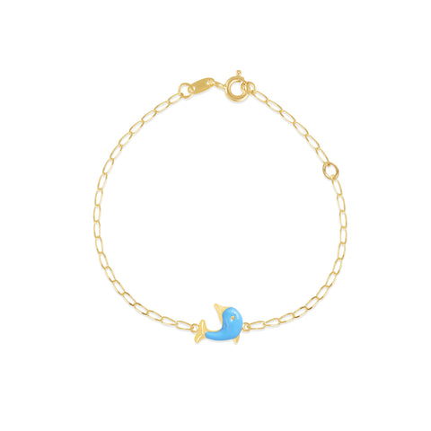 18K Gold Blue Dolphin Bracelet, Pugs & Paws Collection