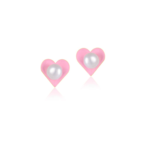 18K Gold Pearly Pink Earrings, Young at Art Collection