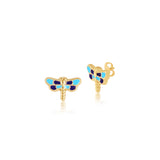 18K Gold Shade of Blue Fire Fly Earrings, Pugs & Paws Collection