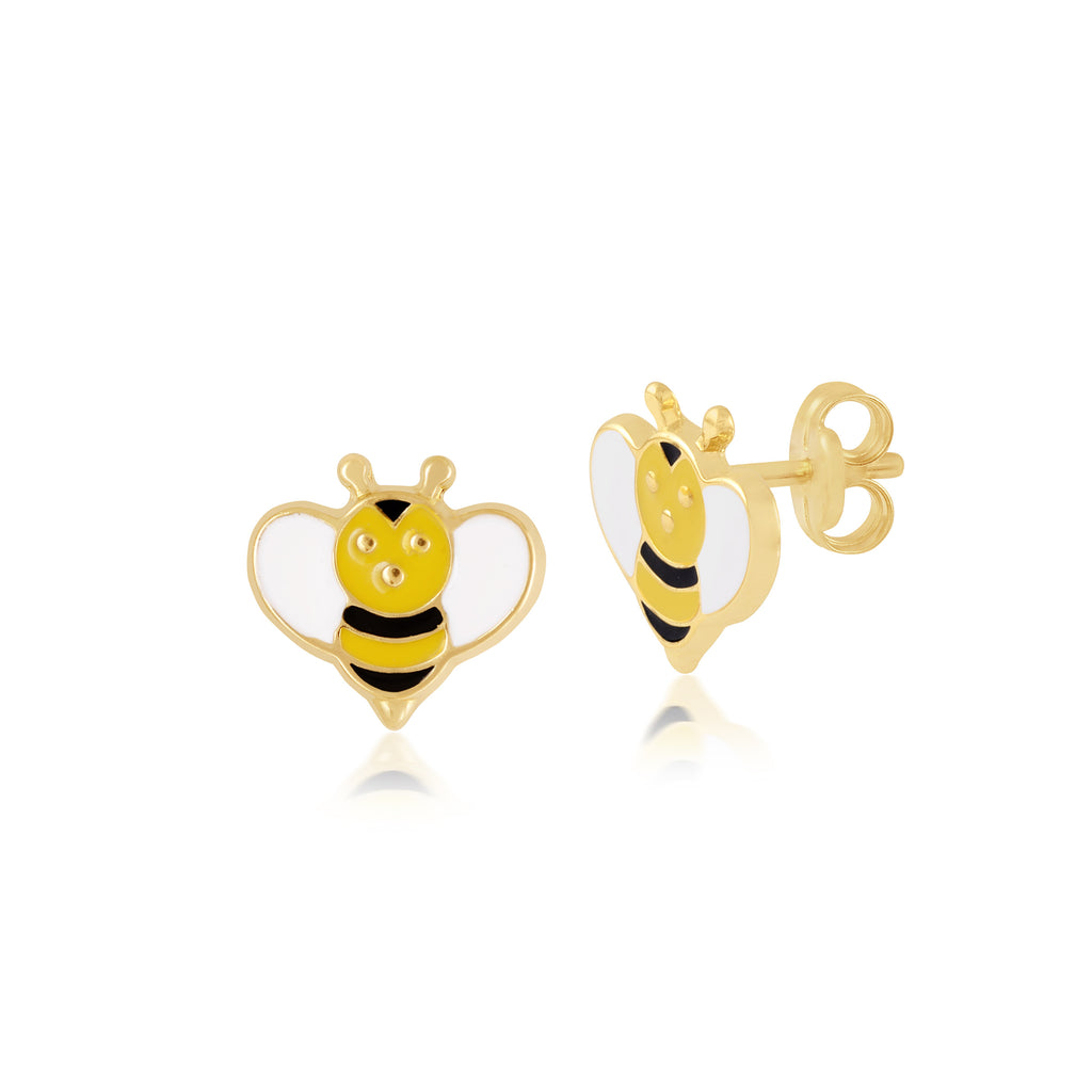 18K Gold Bee-ing Yellow Earrings, Bows & Ties Collection