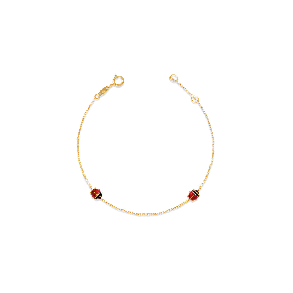 18K Gold Little Lady Bug Bracelet, Bugs & Bees Collection