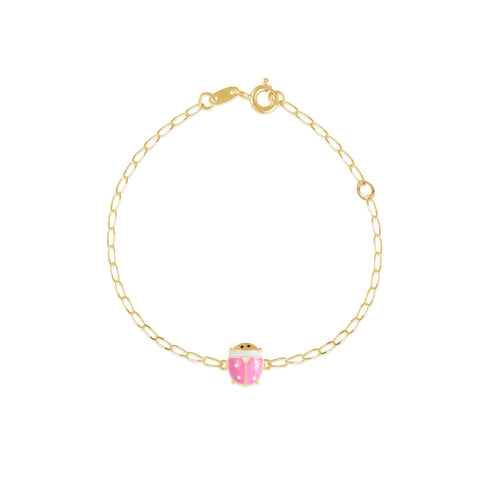 18K Gold Pink As A Lady Bug Bracelet, Bugs & Bees Collection