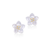 18K Gold Pearly Glitter Flower Earrings, Bows & Ties Collection