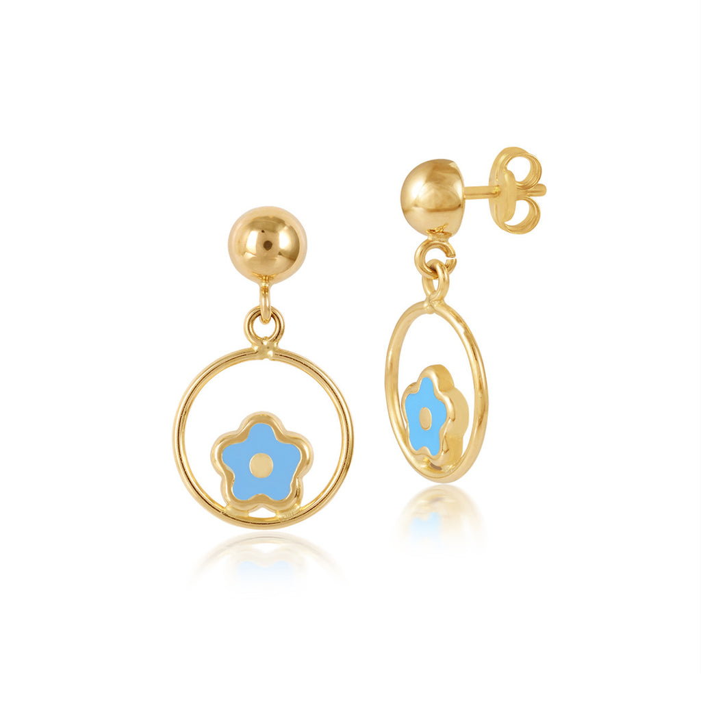 18K Gold Flower In the Middle Blue Earrings, Le Fleur Collection