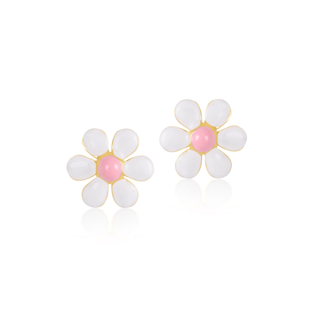 18K Gold Flower In Spring Earrings, Le Fleur Collection