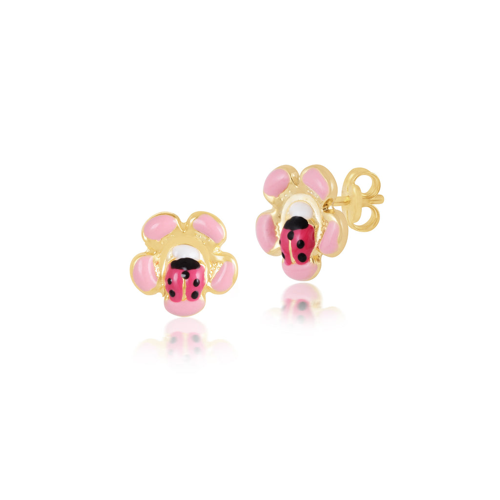18K Gold Beetle Flower Earrings, Bugs & Bees Collection