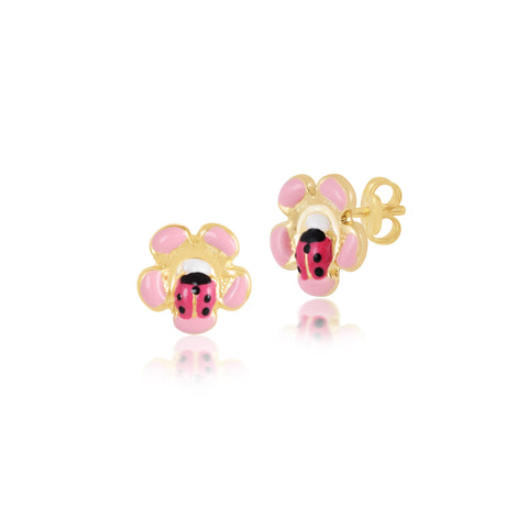 18K Gold Beetle Flower Earrings <br> Bugs & Bees Collection