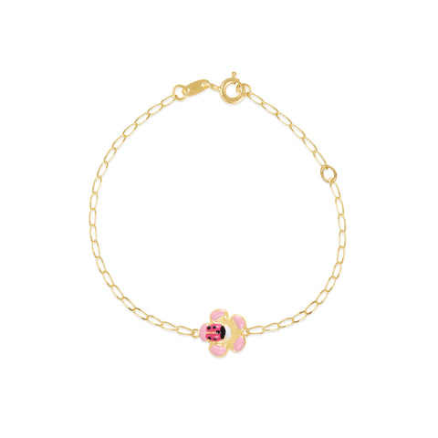 18K Gold Beetle Flower Bracelet, Bugs & Bees Collection