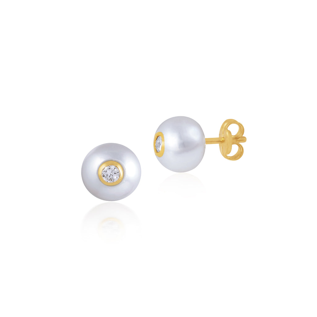 18K Gold Classic Pearl Sparkler Earrings, Bows & Ties Collection