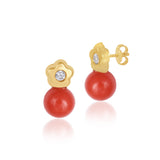 18K Gold Mummy's Coral Muah Earrings, Bows & Ties Collection