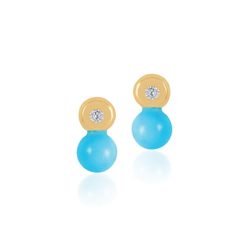 18K Gold Turquoise Touch Earrings, Bows & Ties Collection