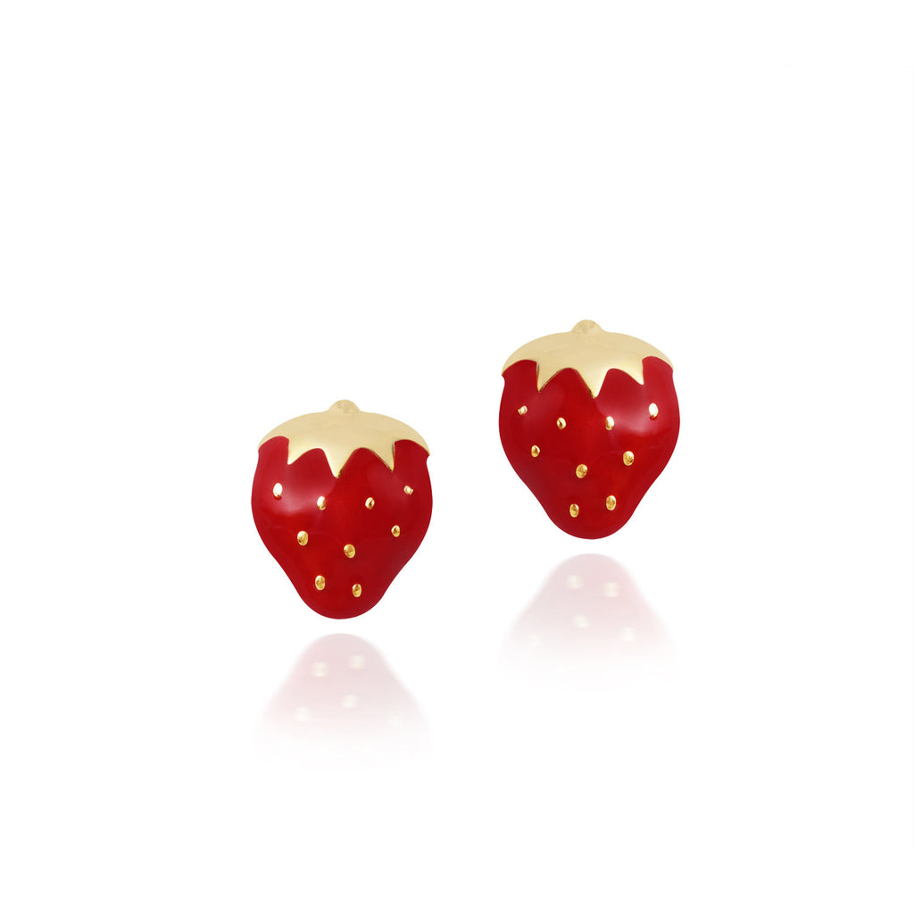 18K Gold Very Berry Strawberry Earrings, Gemberry Collection