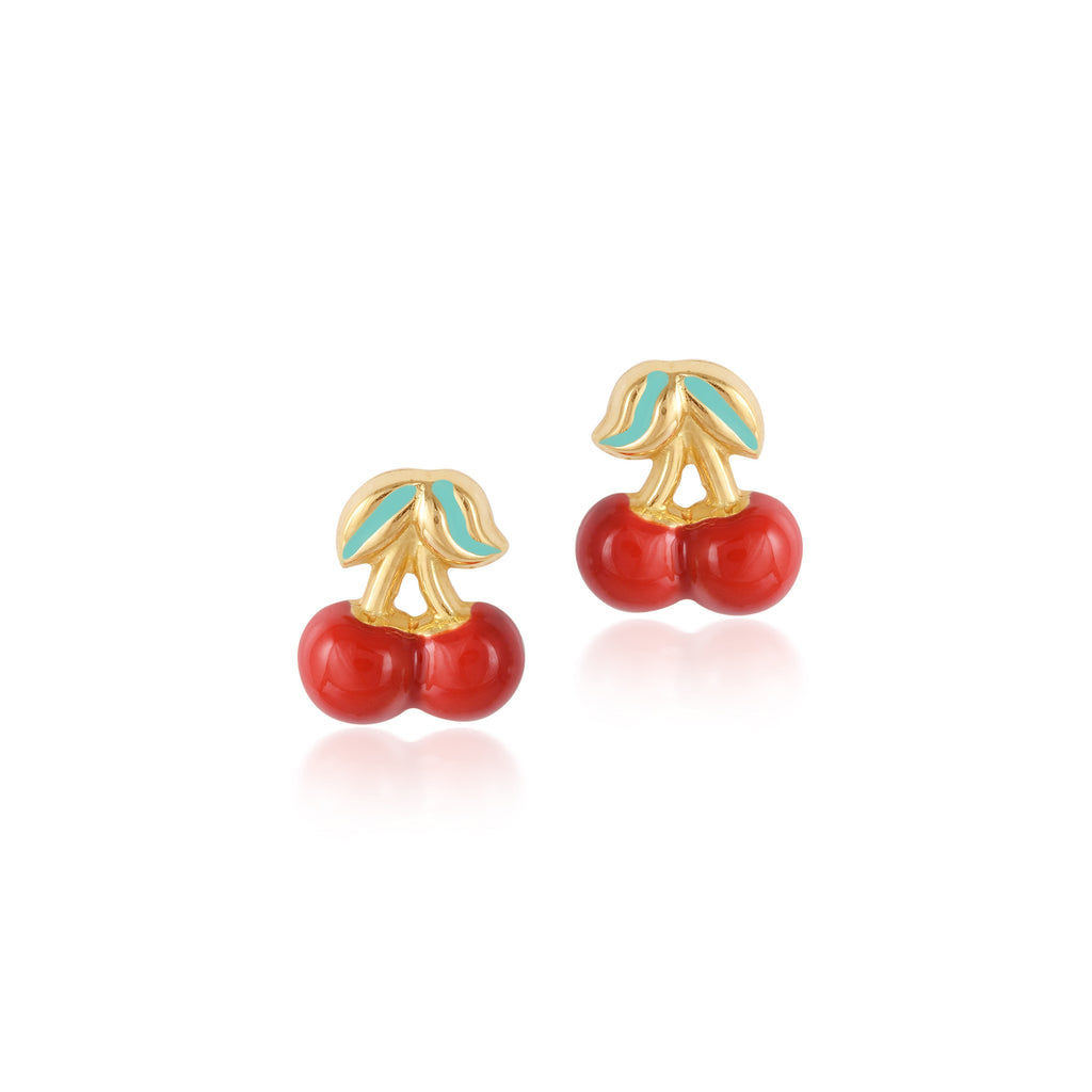 18K Gold Cherry Love Earrings,  Gemberry Collection