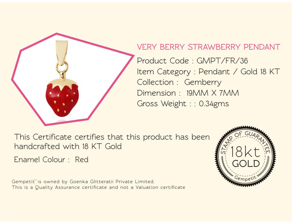 18K Very Berry Strawberry Pendant, Gemberry Collection