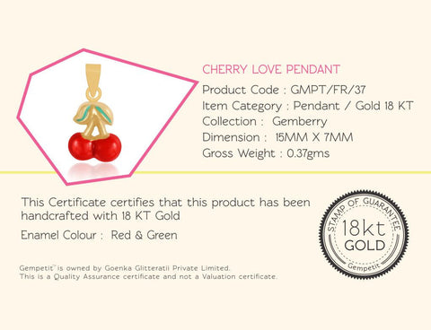 18K Gold Cherry Love Pendant, Gemberry Collection
