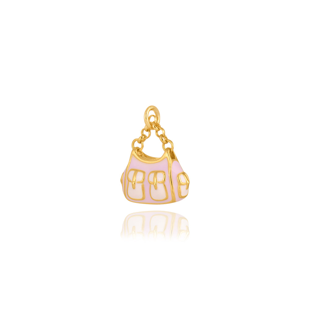 The Satchel Handbag Pendant in Pink, Gold Plated Collection