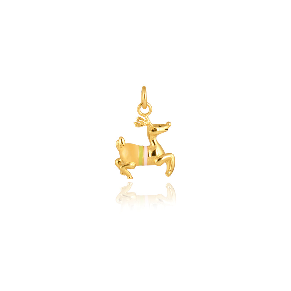 Frollicking Reindeer Pendant, Gold Plated Collection