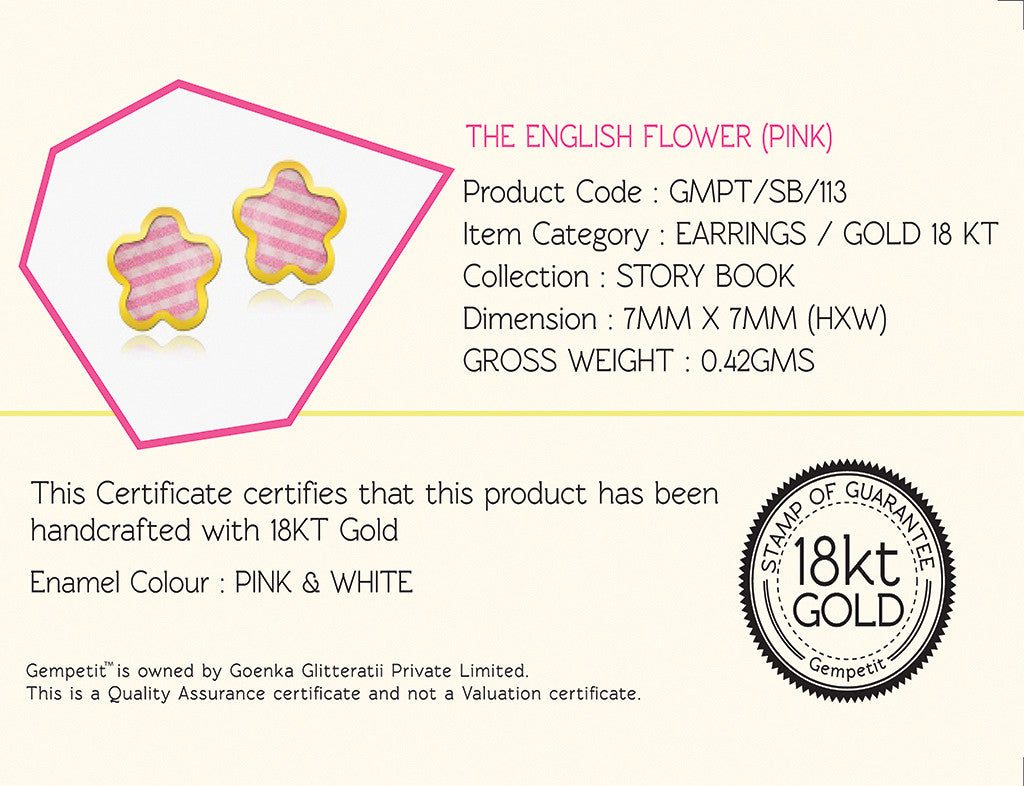 18K Gold The English Flower Earrings, Storybook Collection