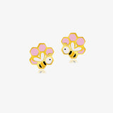 18K Gold About Hives, Bees & Honey Earrings, Storybook Collection