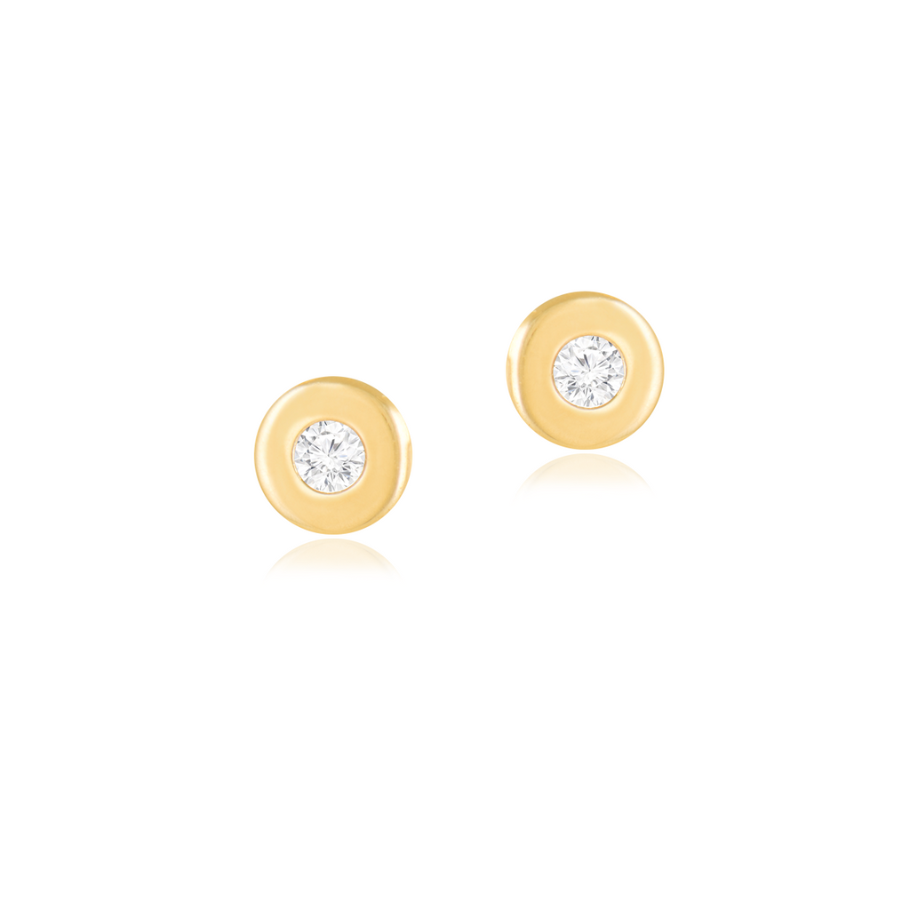 18K Baby Solitaire Yellow Gold Earrings, Simply Classic Collection