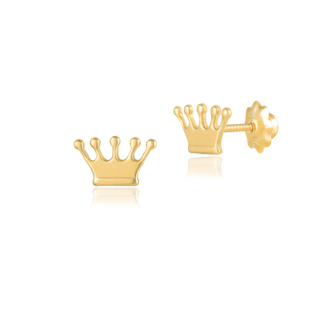 18K Plain Gold Earrings, The Crown, Simply Classic Collection