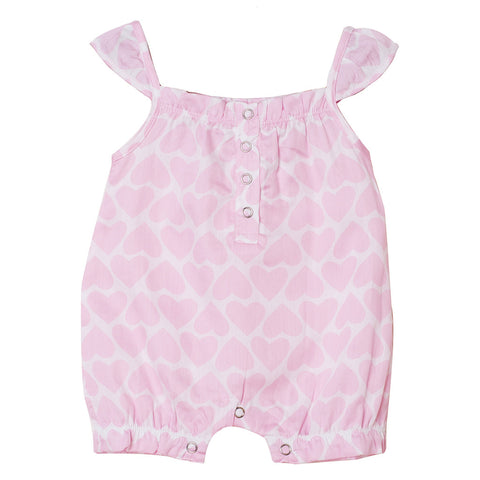 Girl's Romper - Pink Hearts