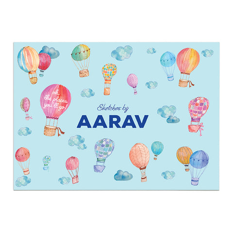 Personalised Sketch Book - Hot Air Balloon, Blue