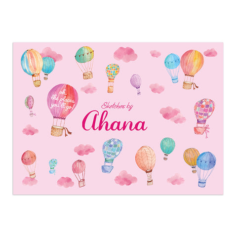 Personalised Sketch Book - Hot Air Balloon, Pink