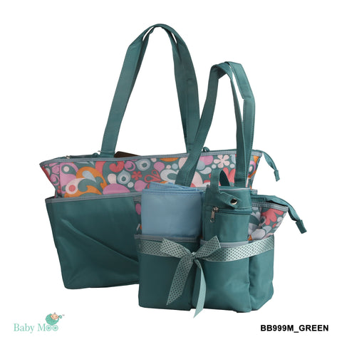 Floral Abstract Green Diaper Bag