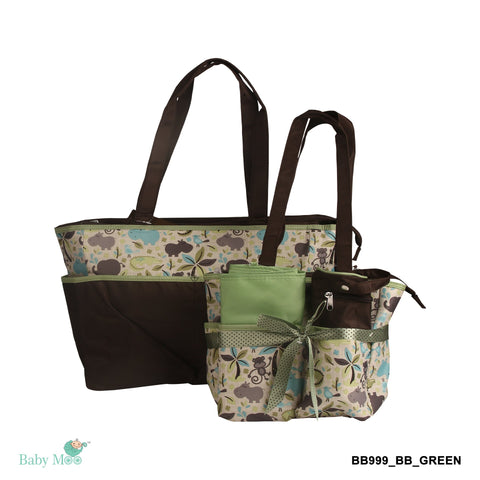 I Love Animals Green Diaper Bag
