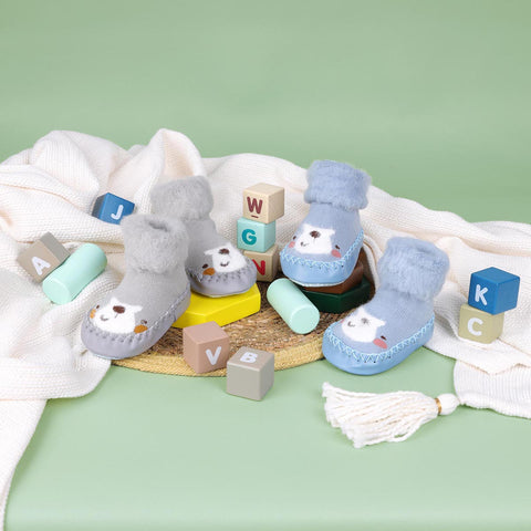 Happy Feet Blue & Grey Booties - 2 Pack (0-24 Months)